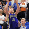 Kassandra Johannsen, Holy Family, goes to the basket against Longmont during Thursday's game at Longmont.<br /> February 3, 2011<br /> staff photo/David R. Jennings