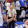 Carolina Gutierrez,  Holy Family, collides with a Longmont player during Thursday's game at Longmont.<br /> February 3, 2011<br /> staff photo/David R. Jennings