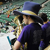 Kurtis Alberi plays in the Holy Family pep band during Thursday's game against Pinnacle at Moby Gym in Ft. Collins.<br /> March 10, 2011<br />  staff photo/David R. Jennings