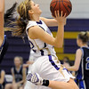 Stephanie Giltner, Holy Family, goes for a lay-up against St. Mary's during Saturday's Game at Holy Family.<br /> <br /> January 30, 2010<br /> Staff photo/David R. Jennings