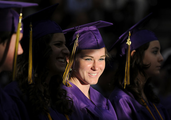 Nancy Anderson smiles during Wednesday's 85th annual Holy Family High School graduation at Holy Family.<br /> May 19, 2010<br /> Staff photo/ David R. Jennings