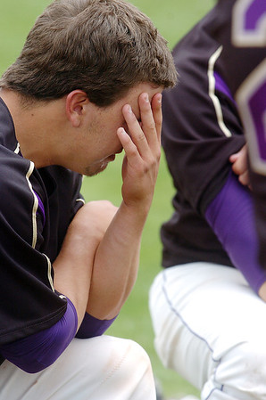 Holy Family's Rob McCandlish cries after the Tigers lost to Faith Christian in the state 3A championship game at Jackson Field in Greeley on Saturday.<br /> May 28, 2011<br /> staff photo/David R. Jennings