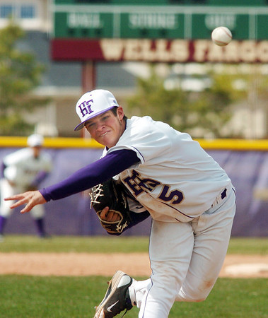 Holy Family's Ryan Silva throws against Faith Christian during Saturday's double header at Holy Family.<br /> April 16, 2011<br /> staff photo/David R. Jennings