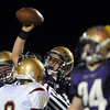 Matthew Miller, Holy Family holds the ball in the air after recovering a fumble by Faith Christian during Friday's game at Mike G. Gabriel Stadium.<br /> October 30, 2009<br /> Staff photo/David R. Jennings