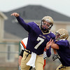 Holy Family's quarterback Joe Sommers throws a pass agianst Lamar during Saturday's game at Mike G. Gabriel Stadium.<br /> <br /> November 14, 2009<br /> Staff photo/David R. Jennings