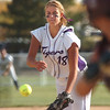 Holy Family's Nicole Gardon pitches against Berthoud during the state softball tournament at the Aurora Sparts Park on Friday.<br /> October 21, 2011<br /> staff photo/ David R. Jennings