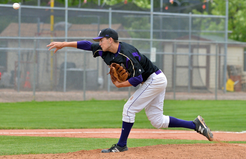 Devlin Granbeerg, Holy Family, pitches against Eaton during the state 3A semi-final game at Butch Butler Field in Greeley on Friday.<br /> <br /> May 25, 2012 <br /> staff photo/ David R. Jennings