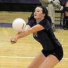 Holy Family's Blaire Mikesell returns the ball during Tuesday's match against Jefferson Academy at Holy Family.<br /> September 27, 2011<br /> staff photo/ David R. Jennings