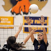 Kassy Johannsen, Holy Family, blocks the ball from Jefferson Academy during Tuesday's matchat Holy Family.<br /> September 27, 2011<br /> staff photo/ David R. Jennings