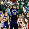 Holy Family's Tanner Stuhr goes to the basket against Kent Denver during the 3A state Final Four game at CSU on Friday.<br /> <br /> March 8,  2012 <br /> staff photo/ David R. Jennings