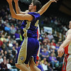 Holy Family's Kyle Willis goes to the basket against Kent Denver during the 3A state Final Four game at CSU on Friday.<br /> <br /> March 8,  2012 <br /> staff photo/ David R. Jennings