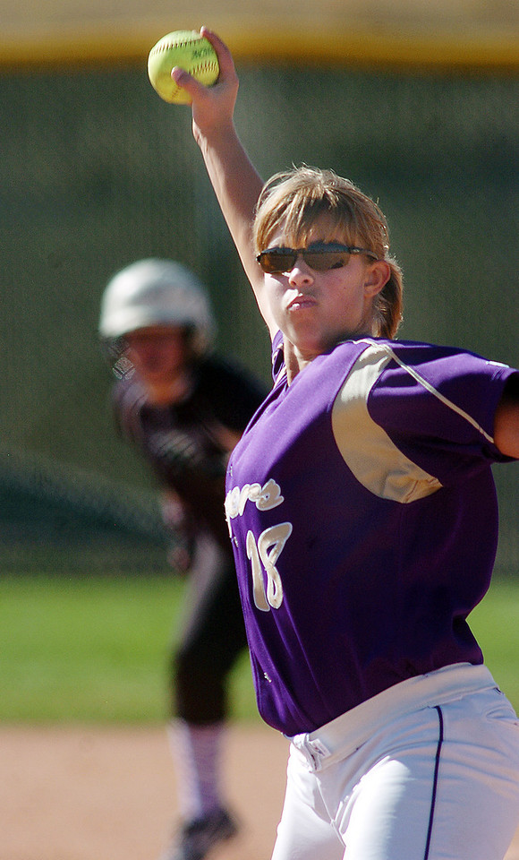 Holy Family's pitcher Nicole Gardon throws against Middle Park  during state regional play at the Broomfield Industrial Park on Saturday.<br /> <br /> October 16, 2010<br /> staff photo/David R. Jennings