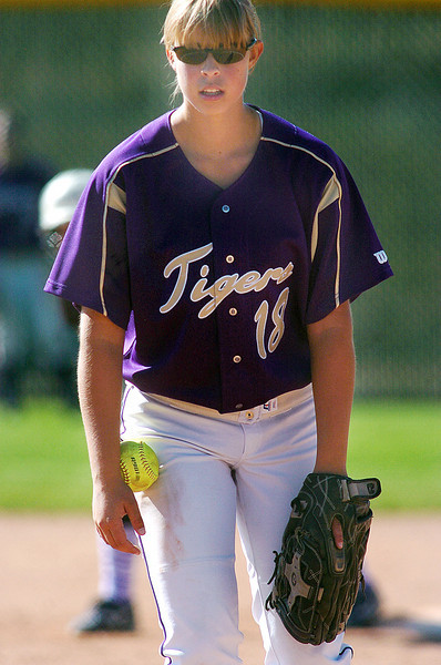 Holy Family's pitcher Nicole Gardon reads the signal from catcher Beth Peterson before throwing against Middle Park during state regional play at the Broomfield Industrial Park on Saturday.<br /> <br /> October 16, 2010<br /> staff photo/David R. Jennings