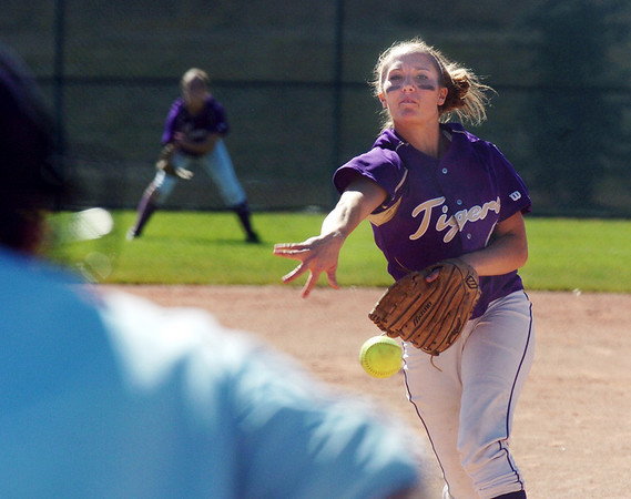 Rachel Boothe, Holy Family, pitches against Peak to Peak during play at Broomfield Industrial Park on Saturday.<br /> October 17, 2009<br /> Staff photo/David R. Jennings