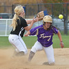 Holy Family's Moriah Turney makes it safely to second base past Valley's Haley Hutton during Saturday's state semi final softball championship game at Aurora Sports Park.<br /> <br /> October 20, 2012<br /> staff photo/ David R. Jennings