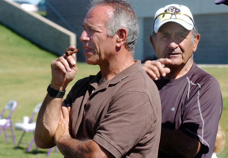 Lou Lombardi, left, and Frank Pomponio watch the Bocce tournament at Holy Family High School on Saturday.<br /> <br /> September 25, 2010<br /> staff photo/David R. Jennings