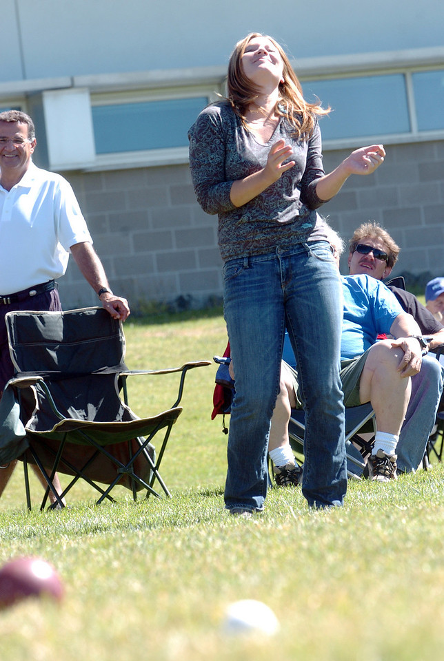Emili Shultz reacts after throwing a bocce ball while competing in Saturday's Bocce tournament at Holy Family High School.<br /> <br /> <br /> September 25, 2010<br /> staff photo/David R. Jennings