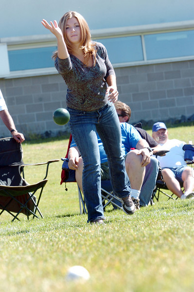 Emili Shultz throws a bocce ball while competing in Saturday's Bocce tournament at Holy Family High School.<br /> <br /> September 25, 2010<br /> staff photo/David R. Jennings