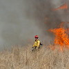 A firefighter walks the weeds as North Metro Fire Rescue District firefighters conduct a controlled burn of 20 acres on the City and County of Broomfield's Hoopes Farm at Lowell Blvd. and 144th Ave. on Wednesday. <br /> <br /> March 17, 2010<br /> Staff photo/David R. Jennings