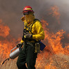 North Metro Fire Rescue District firefighter John Cook uses a drip torch  on a controlled burn of 20 acres on the City and County of Broomfield's Hoopes Farm at Lowell Blvd. and 144th Ave. on Wednesday. The burn was not only a training session for North Metro Wildland Team but also is being used as a weed control study by the county. <br /> <br /> <br /> March 17, 2010<br /> Staff photo/David R. Jennings