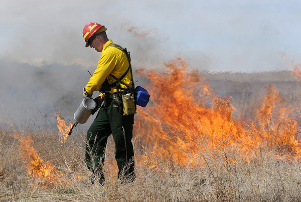 North Metro Fire Rescue District firefighter John Cook uses a drip torch  on a controlled burn of 20 acres of the City and County of Broomfield's Hoopes Farm at Lowell Blvd. and 144th Ave. on Wednesday. The burn was not only a training session for North Metro Wildland Team but also is being used as a weed control study by the county. <br /> <br /> March 17, 2010<br /> Staff photo/David R. Jennings