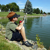 Brad Howell, 9, fishes from the south shore of the Trails Pond during the Broomfield Optimist Club's Huck Finn-Becky Thatcher Fishing Derby on Saturday. <br /> <br /> August 29, 2009<br /> staff photo/David R. Jennings