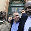 Ronald Taylor, left, Gerald O'Donnell, center, and George Gould, right, speak to the media after a hearing at Rockville Superior Court in Vernon, Conn., Thursday, April 1, 2010. Taylor and Gould were convicted of a 1993 New Haven murder, and their convictions were overturned after a star witness recanted.  O'Donnell, a private investigator, investigated the case for the defense the helped lead to Taylor and Gould's release.  (AP Photo/Jessica Hill)