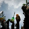 People hold up palm fronds and other plants during Palm Sunday celebrations in Bogota. Sunday, March 28, 2010. Palm Sunday commemorates Jesus Christ's triumphant entry into Jerusalem, and is the start of the Christian Holy Week. (AP Photo/Christian Escobar Mora)
