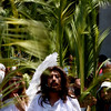 Francisco Serrano portrays Jesus Christ during a Palm Sunday procession in the neighborhood of Iztapalapa in Mexico City, Sunday, March 28, 2010.  Palm Sunday commemorates Jesus Christ's triumphant entry into Jerusalem, and is the start of the Christian Holy Week. (AP Photo/Marco Ugarte)