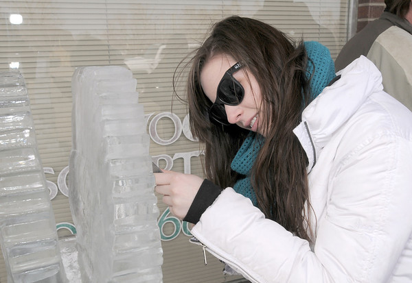 Maddie Faulkner, 17, tries her hand at sculpting with ice during Broomfield High School's Pro Start ice sculpting class at Garden Grill Catering on Wednesday.<br /> February 29, 2012 <br /> staff photo/ David R. Jennings