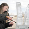 Nova Steward, 17, tries her hand at sculpting with ice during Broomfield High School's Pro Start ice sculpting class at Garden Grill Catering on Wednesday.<br /> February 29, 2012 <br /> staff photo/ David R. Jennings