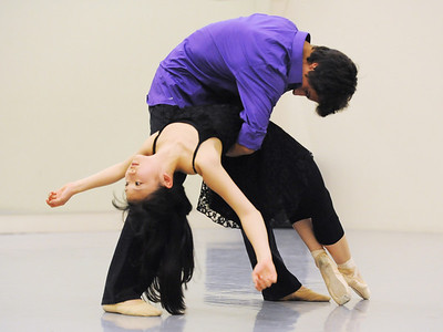 Momo Sakai and Antonio Houck perform one of the dances for the Ballet Nouveau Colorado student company's production of In The Along at the studio.  May 04, 2012  staff photo/ David R. Jennings