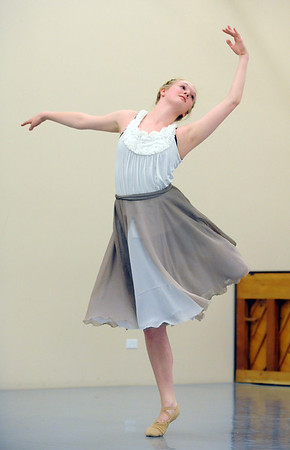 Sarah Jannsen performs a dance for the Ballet Nouveau Colorado student company's production of In The Along at the studio.<br /> <br /> May 04, 2012 <br /> staff photo/ David R. Jennings