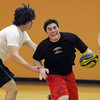 Donny Haupt 18, right, tries to avoid a tackle by Daniel Sargeant, 17, during practice with the Tigers Rugby Football Club at the Paul Derda Recreation Center on Saturday. Players from Holy Family , Pomona, Standley Lake,   Broomfield and other northwest area schools and adults practiced in the gym.<br /> <br /> January 02, 2009<br /> Staff photo/David R. Jennings