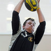 Mike O'Brian, 23, head coach of the men's club catches ball as a jumper in a line-out play during practice with the Tigers Rugby Football Club at the Paul Derda Recreation Center on Saturday.<br /> <br /> January 02, 2009<br /> Staff photo/David R. Jennings