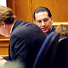 Joseph Abeyta talks to his attorney on Thursday.<br /> The defense rested in the trial of Joseph Abeyta for the murder of  William Andrews on October 22, 2009.<br /> Cliff Grassmick / October 22, 2009