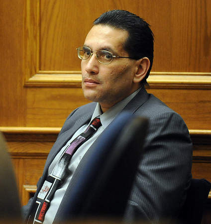 Joseph Abeyta listens to attorneys on Wednesday afternoon.<br /> The trial of Joseph Abeyta for the murder of  William Andrews continued on October 21, 2009 with the testimony of defense witnesses.<br /> Cliff Grassmick / October 21, 2009