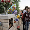 Dominique Giampieri, 16, with her friend Dillon Pixler, 17,  at the dedication of Kelsey's Bridge in memory of Kelsey Marie Shannon on Friday.  <br /> October 14, 2011<br /> staff photo/ David R. Jennings