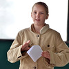 """Elizabeth Chudleigh, Kohl Elementary fourth grader, reads her poem, """"Winter Haiku"""" during Mrs. Fields' the Poetry Cafe class at the 287 and Miramonte Starbucks on Friday.<br /> <br /> <br /> December 14, 2012<br /> staff photo/ David R. Jennings"""