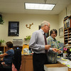 Emerald Elementary School Principal Larry Leatherman checks some information with retiring school secretary secretary Diana Wetzel during his last day of school with the children on Thursday. <br /> May 27, 2010<br /> Staff photo/ David R. Jennings