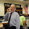 Retiring Emerald Elementary School Principal Larry Leatherman says his final goodbye to students over the intercom on Leatherman's  last day of school with the children on Thursday. <br /> May 27, 2010<br /> Staff photo/ David R. Jennings
