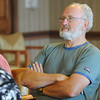 Joe Van Zale said he wasn't too sure what to expect at  Laughter Yoga,  taught by Tomi-Ann Roberts professor of psychlogy at Colorado College for Active Aging Week at the Stratford at FlatIrons on Thursday.<br /> <br /> Sept. 24, 2009<br /> Staff photo/David R. Jennings