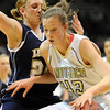 Monarch's Eliza Norman drives  to the basket against Legacy's Quincey Noonan during the Final Four 5A game at the Coors Event Center in Boulder on Wednesday <br /> <br /> <br /> March 10, 2010<br /> Staff photo/David R. Jennings