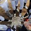 The Legacy team touch first base with their shoes before the start of the state 5A softball championship game against Ralston Valley on Saturday at the Aurora Sports Park. <br /> October 24, 2009<br /> Staff photo/David R. Jennings