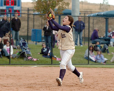Legacy's Jessica Ball catches a fly ball during the state 5A championship softball game against Ralston Valley on Saturday at the Aurora Sports Park.  October 24, 2009 Staff photo/David R. Jennings