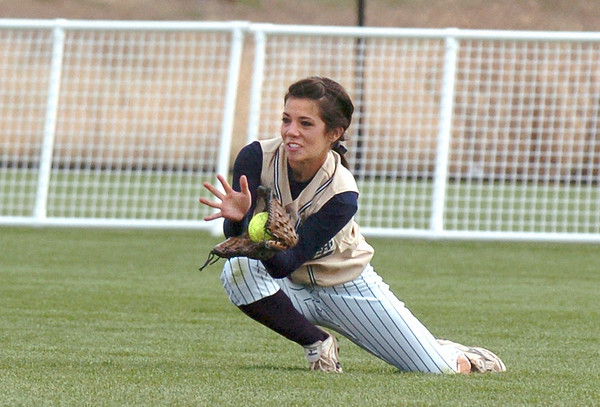 Center fielder Shae Rodriguez, Legacy, catches the ball hit by Ralston Valley in the state 5A softball game, Saturday, at the Aurora Sports Park. The Lightning defeated the Mustangs 1-0 to win thestate 5A championship.<br /> October 24, 2009<br /> Staff photo/David R. Jennings