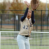 Legacy's Rainey Gaffin catches the ball in right field hit by Ralston Valley during the state 5A softball game, Saturday, at the Aurora Sports Park. <br /> October 24, 2009<br /> Staff photo/David R. Jennings