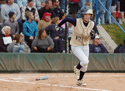 Legacy's Shae Rodgriguez runs to first base after hitting the ball during the state 5A championship softball against Ralston Valley on Saturday at the Aurora Sports Park.  October 24, 2009 Staff photo/David R. Jennings
