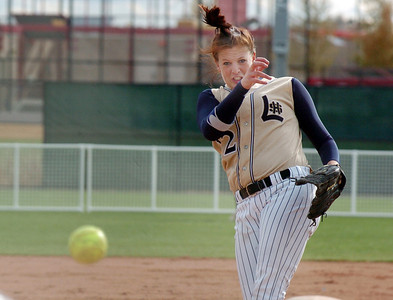 Pitcher Shelby Babcock, Legacy, throws against Ralston Valley during the state 5A championship softball game, Saturday, at the Aurora Sports Park.   October 24, 2009 Staff photo/David R. Jennings