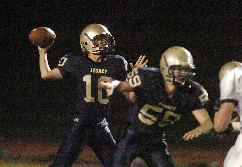 Legacy's quarterback Steven Yoshihara passes against Boulder during Thursday's game at North Stadium.<br /> <br /> October 14, 2010<br /> staff photo/David R. Jennings